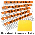 Warning Labels, 20 pack with squeegee applicator, free shipping